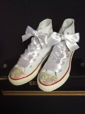 Crystal Custom Converse White Bling UK Girls Size 1 NEW