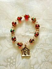 "New"" ROSARY NATIVITY BRACELET with gold caps, Nativity Charm, fits 7-1/2 wrist"