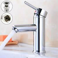 Bathroom Single Lever Basin Mono Mixer Tap With Waste Unit Chrome Brass UK