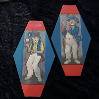 Vintage Clown Mid-Century Wall Plaques Wooden Red/Blue Patriotic Creepy Clowns