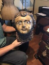 Antique Italian  Life Size Angel Face Wood Carving