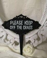 Schild Beet Stecker Please keep off the grass... Gusseisen Erdstecker Braun