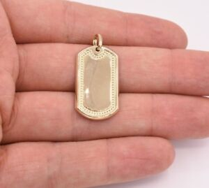 "1.5"" Dog Tag Plain Shiny Charm Pendant Real Genuine 10K Yellow Gold Great Gift!"