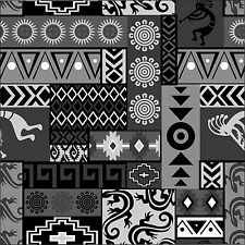 Fabric Western Aztec Kokopelli Patchwork Black & White Cotton 1/4 Yard