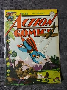 Action Comics 62 (7/43) WWII Japanese Zero cover by Burnley | VG