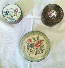 3 TRINKET BOXES ORIENTAL PORTUGAL 1ST HAIRCUT/ENGLAND TIN LOT