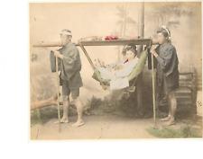 Japon, Traveling Chair  Vintage albumen print.  Tirage albuminé aquarellé  2