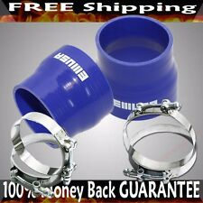 """BLUE 2x3.5""""- 3"""" Universal Silicone Hose Turbo Pipe Reducer+ SS Clamps COMBO"""