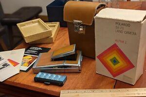 1970s VINTAGE POLAROID SX-70 ALPHA 1 ?  CAMERA W/ CASE, BOX, PAPERS, FLASH