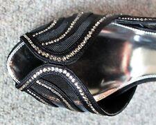 Stunning Black Mesh Leather KAREN MILLEN High Heeled Shoes Crystal Details EU40