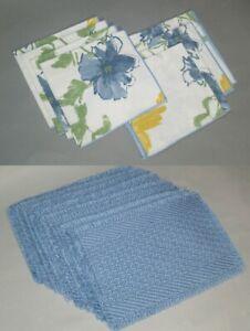 PLACEMATS & MATCHING REUSABLE CLOTH NAPKINS–16 pcs, lt blue,yellow,green,floral