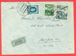 Slovakia 3 diff stamp used on cover to USA 1940