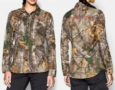 $80 NEW WOMENS UNDER ARMOUR Performance Fitted Shirt sz LARGE Realtree Camo
