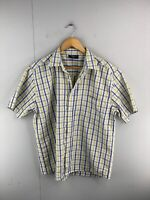 Fabiani Men's Short Sleeved Button Up Shirt Size M Yellow Blue Check