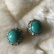 Vintage Kafin Clip On Earrings Turquoise Color