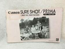 OEM Canon Sure Shot Multi Tele Prima Tele & Date Instruction Manual Guide E 1987