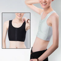 Chic Breast Binder Crop Top Trans Ladies Side Hook Underwear Plain Boobs Tube