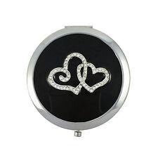 Espejo Compacto, Corazones Diseño Con Esmalte Y Cristal De Swarovski Y Bolsa De Cuero