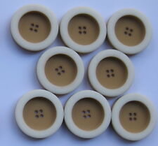 25mm Caramel with White Edge Vintage Sewing Buttons  Set of 8