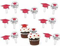 GRADUATION RED CUPCAKE PICKS Congrats Grad Party Decorations Cap Hat Topper Food