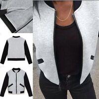 Fashion Womens Bomber Jacket Vintage Zip up Biker Stylish Padded Coat Top Blouse