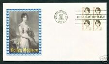 1822 * DOLLEY MADISON * FDC + PLATE BLOCK *