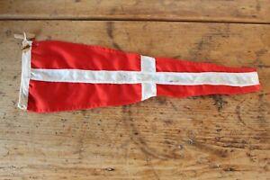 VINTAGE INTERNATIONAL SIGNAL NO. 8 LINEN PENNANT FLAG RED WHITE CROSS 58 X 19CM