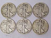 Lot of 6 Walking Liberty Half Dollars 1941-S 1942-S 1943-S 1944-S 1945-S 1946-S