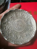 CHINEA FOLK old Carved Tibetan silver plate zodiac dragon ornaments
