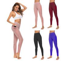 Women Sports Yoga Pants High Waist Workout Leggings Running Gym Fitness Trousers