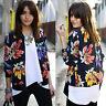 Women Slim Blazer Floral Print Top Blouse Casual Outwear Short Lapel Coat Jacket