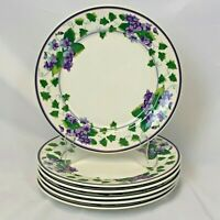 LOT OF 6 WAVERLY GARDEN ROOM SWEET VIOLET DINNER PLATES FREE SHIPPING