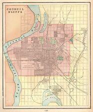 1900 Antique COUNCIL BLUFFS Map of Council Bluffs Iowa Gallery Wall Art 4766