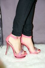 38 Sandali sexy Rosa Rose Rhinestoned Super Sexy Lace Up Diamonds High Heels