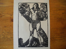 ORIGINAL WOODCUT ILLUSTRATION: Norse God: Nude Male with Dragon & Squirrels 1928