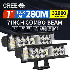 2x 7inch LED Light Bar Spot Flood Combo Work Driving Lights Offroad Truck 4WD 6""