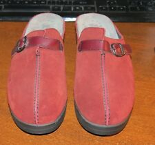 Mephisto Red Maroon Suede Leather Clog Mule Shoes Women's Size 7.5 M / 38 Euro