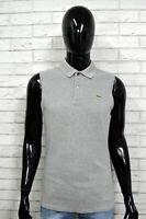 LACOSTE 4 Polo Maglia Camicia Uomo Senza Manica Grigio Herrenhemd Chemise Shirt