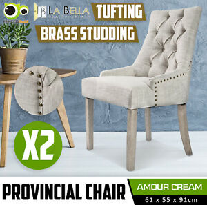2X Dining Chair French Provincial Brass Studded Fabric Oak Legs Cafe AMOUR - CR