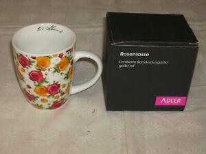 1 x Kaffeetasse Tasse Rosendekor  Adler Birgit Schrowange mit OVP