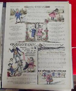 Image d'Epinal Pellerin  n°3124 Gentil Coqu'licot chanson ronde Vintage 1900