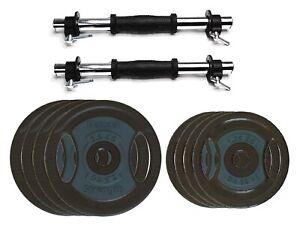 2x 9kg Cast Iron Adjustable Dumbbell Weight Set Crossfit Fitness Dumbbells 18kg