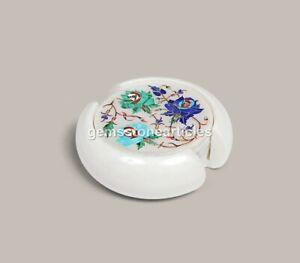 Marble Inlay Coasters Set / Marble Coasters / Stone Coasters / Lapis Lazuli Arts