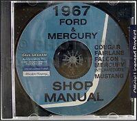 1967 Ford CD Shop Manual Mustang Ranchero Fairlane Futura Falcon Repair Service