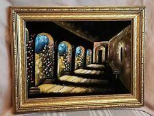 Vintage Velvet Painting Hacienda Spanish Mission Portico Flowers Gold Frame
