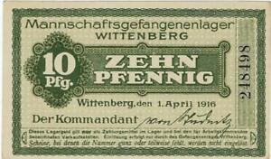 POW NOTE GERMANY---WITTENBERG -- 1 APRIL 1916- 10 PFENNIG //838