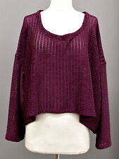 PRISA EURO CROCHET SHIRRED KNIT CROPPED PULLOVER SWEATER BLOUSE O/S US 28 $225