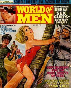 "World of Men Magazine Pulp cover color photo 8"" x 10"" REPRINT"