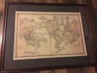 Johnson's Map Of The World Framed