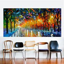 Neu Nacht Blick Beleuchtung Landschaft Straße Leinen Öl Malerei Wandbild 40 60cm